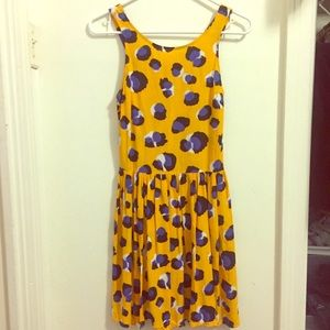 TOPSHOP YELLOW LEOPARD PRINT CUTOUT BACK DRESS